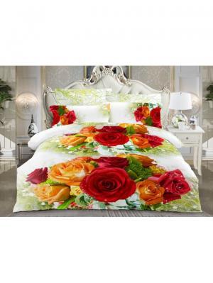 Комплект постельного белья Ля Мур. Цвет: белый, красный, оранжевый