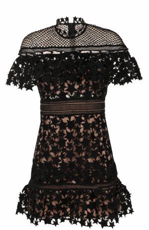 Кружевное мини-платье с коротким рукавом self-portrait. Цвет: черный