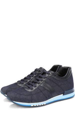 Текстильные кроссовки на шнуровке с отделкой из натуральной кожи A. Testoni. Цвет: синий