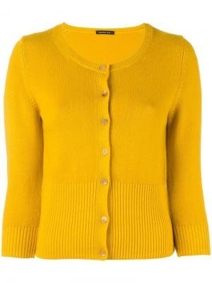 Кардиган с ребристой окантовкой Nathalie Samantha Sung. Цвет: жёлтый и оранжевый