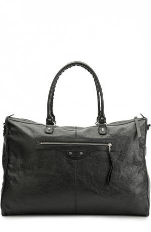 Кожаная дорожная сумка Classic Weekender с плечевым ремнем Balenciaga. Цвет: черный
