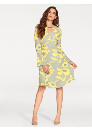 Платье ASHLEY BROOKE by Heine. Цвет: серо-коричневый/желтый