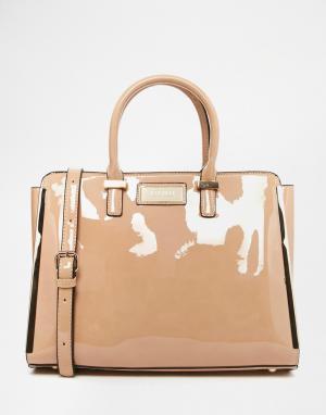 Juno Accessories Лакированная сумка с короткими ручками и съемным наплечным ремешком Ju. Цвет: телесный