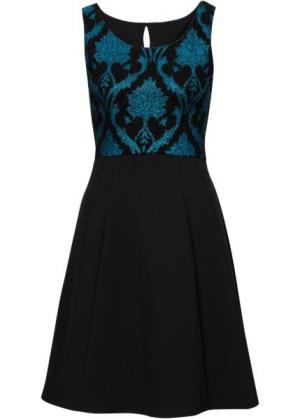 Коктейльное платье (черный/бирюзовый) bonprix. Цвет: черный/бирюзовый