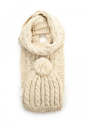 Комплект шапка и шарф Venera. Цвет: бежевый