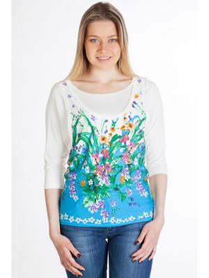Блузка Ням-Ням. Цвет: молочный, зеленый, синий