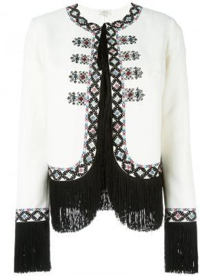 Пиджак с вышивкой и бахромой Talitha. Цвет: белый