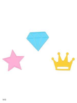 Набор брошек, 3 шт Modis. Цвет: голубой, розовый, желтый