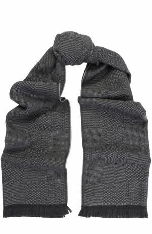 Шерстяной шарф с необработанным краем Canali. Цвет: серый