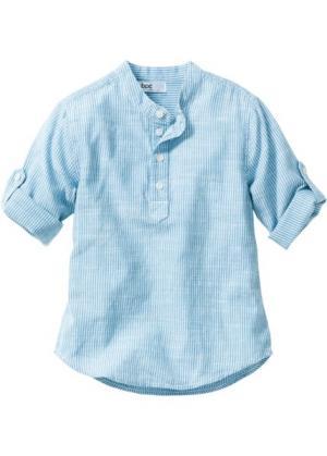 Рубашка (нежно-голубой/белый в полоску) bonprix. Цвет: нежно-голубой/белый в полоску