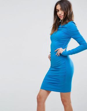 ASOS Облегающее платье мини с длинными рукавами. Цвет: синий