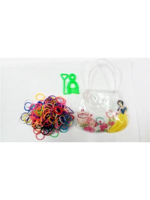 Резиночки для плетения в сумочке (300 шт. 2 инструмента) MSN TOYS. Цвет: белый, синий, зеленый, розовый, желтый