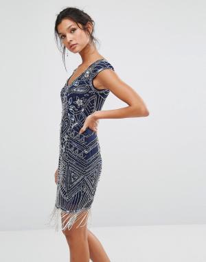 Frock and Frill Декорированное короткое платье-чарльстон. Цвет: синий