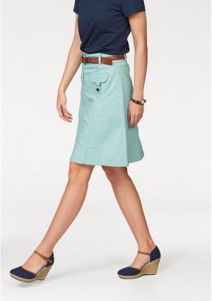Джинсовая юбка CHEER. Цвет: белый, нежно-зеленый
