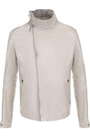 Кожаная куртка на молнии с воротником-стойкой Isaac Sellam. Цвет: светло-серый