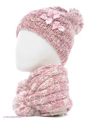 Шапка+шарф Marhatter. Цвет: бледно-розовый, белый