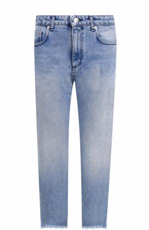 Укороченные джинсы прямого кроя с потертостями MSGM. Цвет: синий