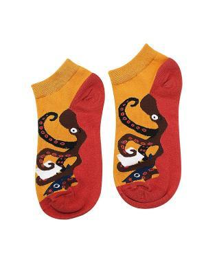 Носки Осьминог Kawaii Factory. Цвет: красный, оранжевый