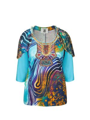 Блузка KR. Цвет: синий, голубой, лазурный