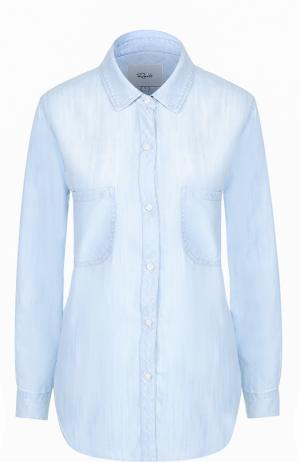 Блуза прямого кроя с накладными карманами Rails. Цвет: голубой
