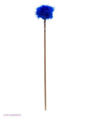 Игрушка для кошки Бамбук меховой мячик на резинке 60см Zoobaloo. Цвет: темно-синий