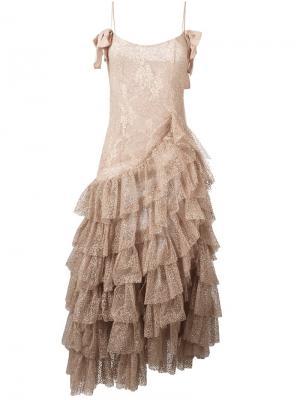 Длинное платье Swan Alessandra Rich. Цвет: телесный
