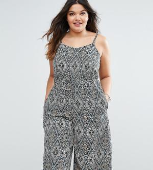 Diya Комбинезон с юбкой-шортами и платочным принтом Plus. Цвет: мульти
