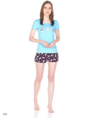Пижама ГАРМОНИЯ.. Цвет: лазурный, темно-коричневый