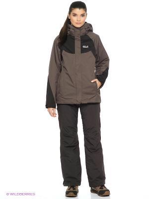Куртка SERPENTINE II 3IN1 JKT W Jack Wolfskin. Цвет: темно-серый