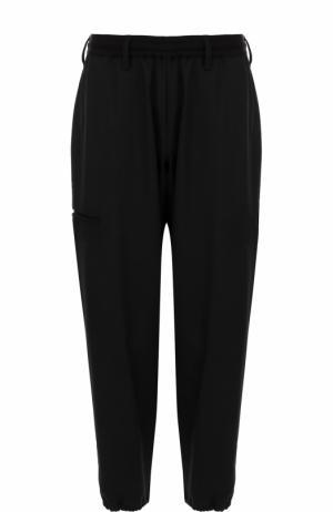 Шерстяные укороченные брюки с заниженной линией шага Yohji Yamamoto. Цвет: черный