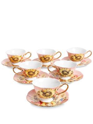 Чайный н-р на 6 перс Дольче Вита  (Pavone) Pavone. Цвет: бледно-розовый, желтый