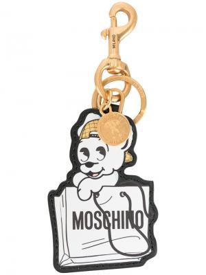 Брелок для ключей в виде собаки Moschino. Цвет: белый