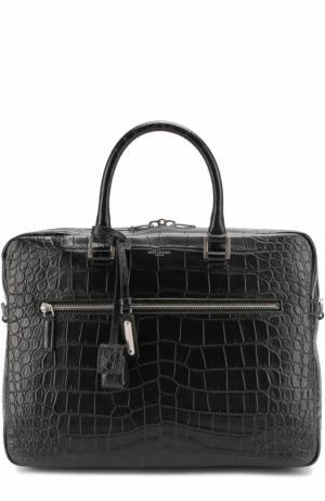 Кожаная сумка для ноутбука с плечевым ремнем Saint Laurent. Цвет: черный