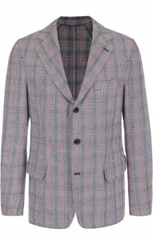 Однобортный пиджак в клетку из смеси хлопка и льна 120% Lino. Цвет: синий