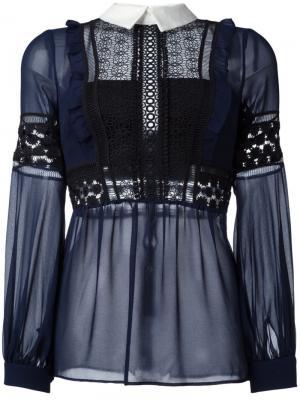 Блузка с вышивкой Self-Portrait. Цвет: синий
