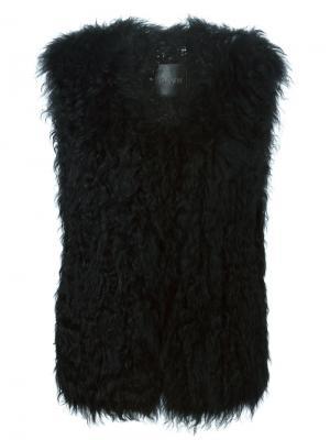 Трикотажный жилет из овчины Ravn. Цвет: чёрный
