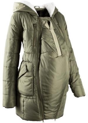 Мода для беременных: куртка с подкладкой и карманом-вкладкой малыша (оливковый) bonprix. Цвет: оливковый