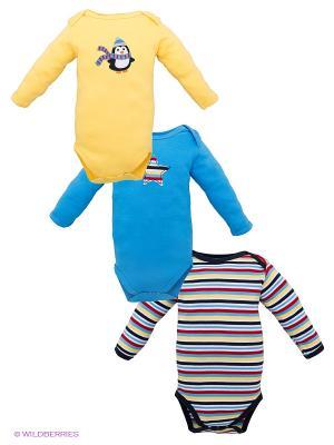 Боди, 3 шт Hudson Baby. Цвет: голубой, желтый, синий