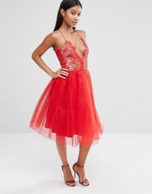 Rare Платье миди с юбкой из тюля London. Цвет: красный