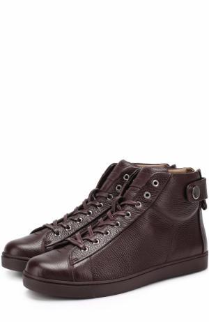 Высокие кожаные кеды на шнуровке Gianvito Rossi. Цвет: бордовый