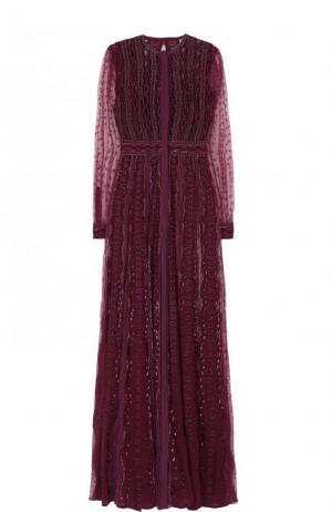 Платье-макси с отделкой из бисера Zuhair Murad. Цвет: бордовый