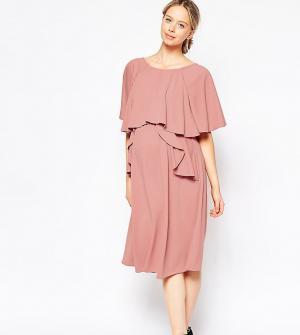 ASOS Maternity Платье миди для беременных. Цвет: фиолетовый