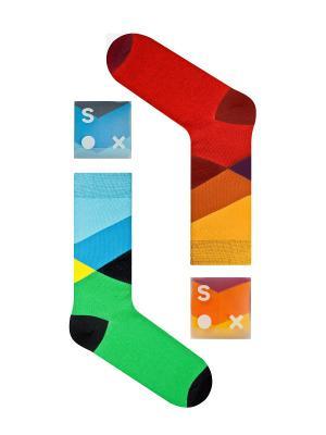 Набор От заката до рассвета (2 пары в упаковке), дизайнерские носки SOXshop. Цвет: зеленый, красный