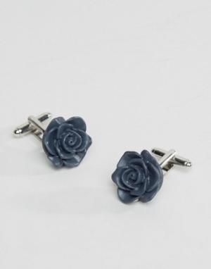 ASOS Темно-синие запонки в виде розы. Цвет: темно-синий