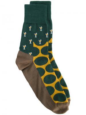 Носки с рисунком коктейлей Kolor. Цвет: многоцветный