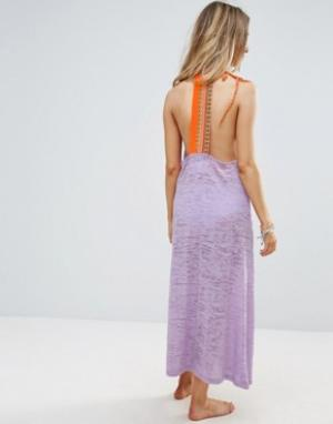 Pitusa Пляжное платье макси с вышивкой на спине. Цвет: фиолетовый
