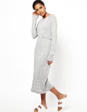 Платье с длинными рукавами и декоративными молниями BACK by Ann-Sofie. Цвет: серый меланж