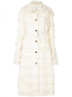 Пальто с бахромой и поясом Goen.J. Цвет: белый