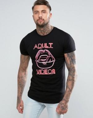 Good For Nothing Черная футболка с неоновым принтом. Цвет: черный