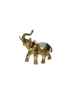Фигурка декоративная Слон Русские подарки. Цвет: бронзовый, белый